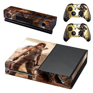 Tomb Raider Vinyl Skin Decals Cover for Xbox One Console With Two Wireless Controller Decals