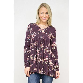 Floral Long Sleeve Baby Doll Top
