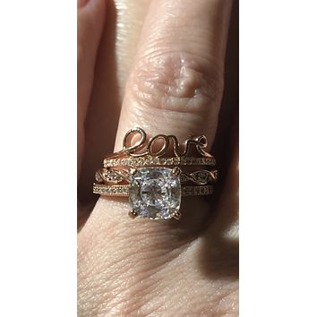 Bespoke 14K Rose Gold 2CT Cushion Cut Russian Lab Diamond Love Bridal Set