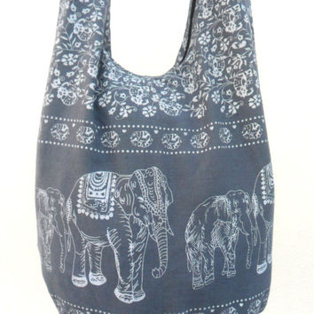Shoulder Bag Crossbody Bag Handmade Bag Elephant Bag Hobo Cross Body  Bag Hippie Boho bohemian bag Purse Gift /  Gray Color Sling  bag