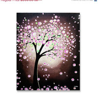 Original Painting, Pink Cherry Blossom Tree Painting, Pink Flower Tree Art, Acrylic Painting Wall Decor, Mothers Day Gift 20x24
