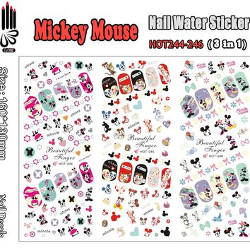 3 Sheets/Lot Hot Nail HOT244-246 Mickey Cartoon Mouse Nail Art Wrap Water Sticker for Nail Art Decoration (3 DESIGNS IN 1)