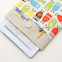 iPad cover. Sleeve for iPad mini with retina display. iPad AIR case with owls pocket, case, bag, pouch. iPad 1 2 3 4 cover. Tablet case