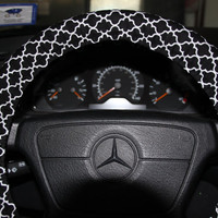 Black and White Morrocan Steering Wheel Cover  -Classic Wheel Cover - black and white quatrefoil  wheel cover