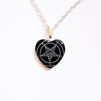Sigil of Baphomet - Handmade Heart Cameo Pendant Necklace