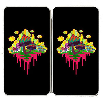 'Drippy Mushrooms' Hippy Shroom Dripping Design Artwork - Taiga Hinge Wallet Clutch