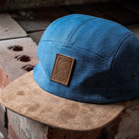 Denim & Suede 5 Panel Icon Hat