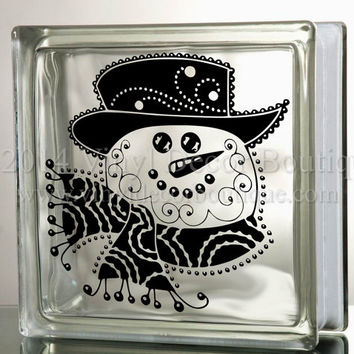 Snowman Filigree Flourish Glass Block Decal Tile Mirrors DIY Decal for Christmas Glass Blocks Christmas Snowman Filigree Flourish