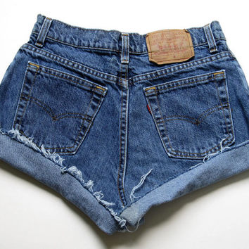 Vintage Levi's Dark Wash High Waisted Cut Off Denim Shorts Jean Cuffed 27""