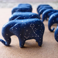 Constellation elephants ∙ Cute handmade miniature star sign ornament ∙ Zodiac pendant necklace