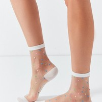 Out From Under Patterned Monofilament Crew Sock | Urban Outfitters