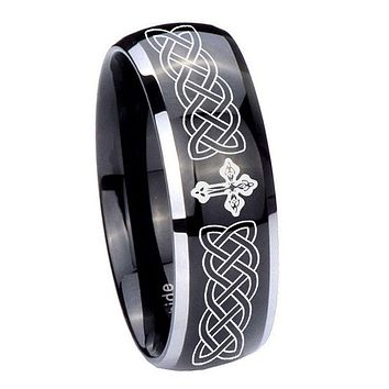 8MM Glossy Black Dome Celtic Cross 2 Tone Tungsten Laser Engraved Ring