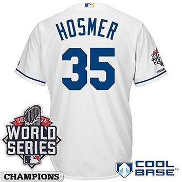 Eric Hosmer Kansas City Royals #35 Mlb Men's Cool Base 2015 World Series Champions Patch Home Jersey (xlarge)