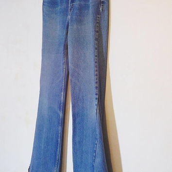 Mens Bell Bottom Jeans, Levi 505 Bell Bottoms, Peace Patch, Secret Pocket, 36 Waist, Tall, Hippie Clothes, Bohemian, 70s, Frayed Worn, Flare