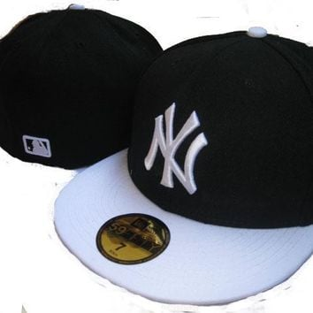 ESBON New York Yankees New Era MLB Authentic Collection 59FIFTY Hats Black-White