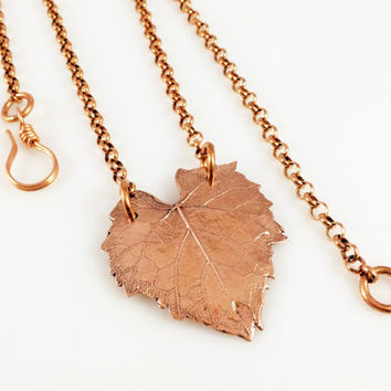Copper Leaf Necklace, Stationary Leaf Pendant, Pure Raw Copper Jewelry, Bold Chunky Leaf Design, Forest Heart, Heart Leaf, Handmade Artisan