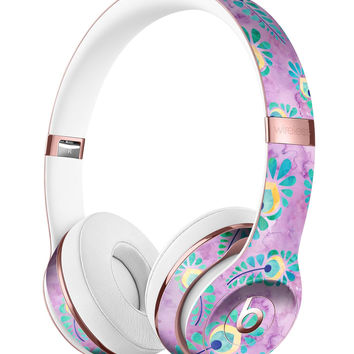 Light Purple and Blue Watercolor Peacock Feathers Full-Body Skin Kit for the Beats by Dre Solo 3 Wireless Headphones
