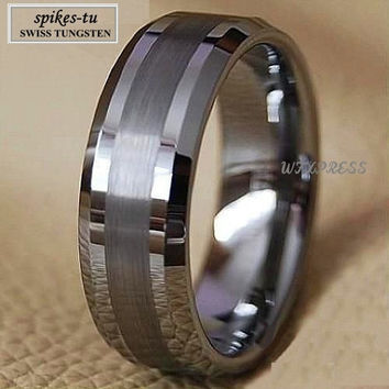 Titanium Color Two Tone Tungsten Carbide Wedding Band Men's Ring Bridal Jewelry Free Shipping
