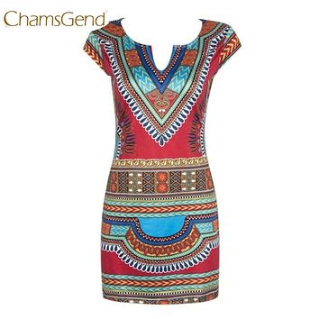 Chamsgend Newly Design Women Ethnic Traditional African Print Sleeveless V Neck Tight Short Dress 170622