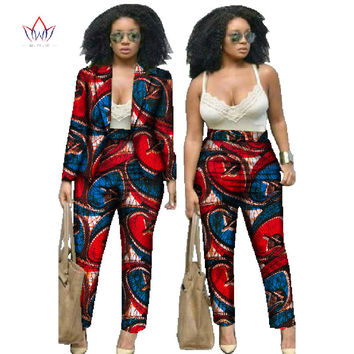 BRW African Print Two Piece Set For Women Spring Dashiki Pant and Crop Top Bazin Riche African Clothing for Lady WY019