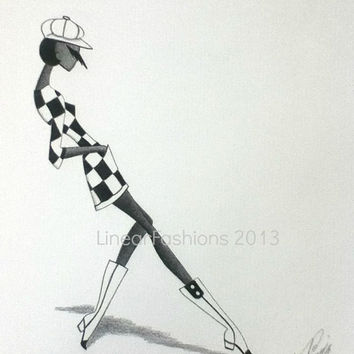 Fashion Illustration 1960s Mod Check Dress Original Pencil Drawing Minimalist Decor or Gift