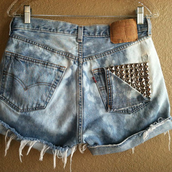 High Waisted Distressed Bleached Studded Pocket Levi's Shorts (Large)