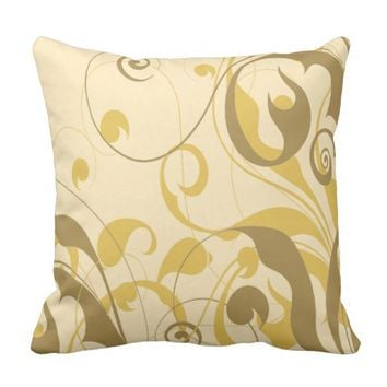 Beige & Brown Vines Decorative Accent Pillow