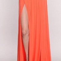 Coral Double Slit Maxi Skirt