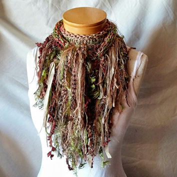 Tan and green triangle scarf Cowl neck shawlette Knit wrap  Boho shabby shawl Fashion scarflette Woodland colors Elf sprite costume