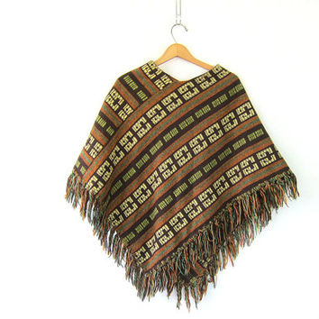 Vintage ethnic poncho. Warm Fall Sweater Pullover. woven knit. Brown pullover jacket coat with fringe. Hand knit shawl poncho.