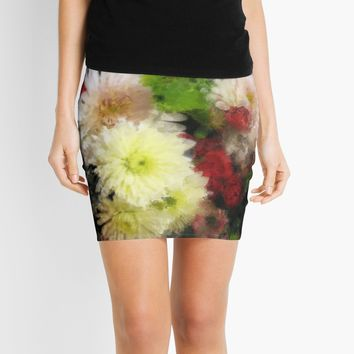 'Floral Shimmer Watercolour Bouquet' Mini Skirt by JoieDesigns