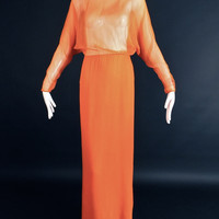 PAULINE TRIGERE-1970s Orange Silk Chiffon Gown, Bust-34