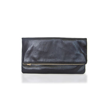 City Lights Snakeskin Clutch in Black