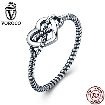 VOROCO Authentic 925 Sterling Silver Love Twisting Rope and Ribbon Vintage Minimalist Rings For Women Fine Jewelry VSR086