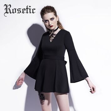 Gothic Mini Dress Black Lace-Up Flare Sleeve  V-Neck Bowknot Casual Dress A-Line Fashion Witch Goth Dresses
