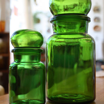 Set of 2 Green Belgium Apothecary Jars