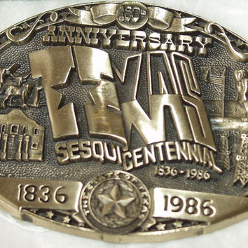 Texas LTD Belt Buckle 150 years 3D Commemorative, Alamo, Long Horn, Oil, scarce