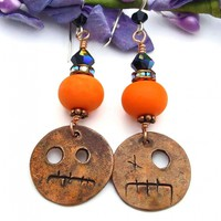 Halloween Goblin Earrings, Copper Orange Lampwork Black Crystal Handmade Ghoul Jewelry for Women
