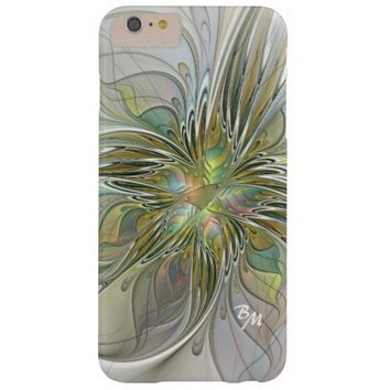 Floral Fantasy, Abstract Fractal Art Monogram Barely There iPhone 6 Plus Case