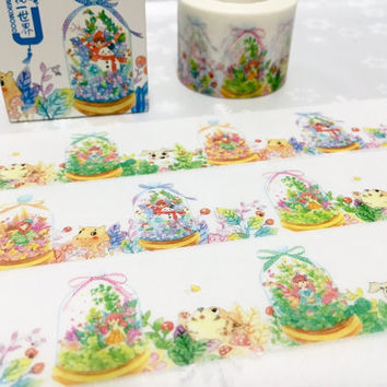 farm animal water globe washi tape 10m x 3cm spring garden green plant masking tape kawaii girl cute globe sticker tape scrapbook gift