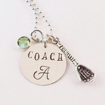 Personalized Custom Lacrosse Coach Charm Necklace, Lacrosse Coach Necklace with Sterling Silver Lacrosse Stick Charm and Crystal Birthstone