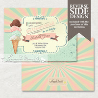 Ice Cream Social Birthday Invitation / Soda Shop Printable Invite