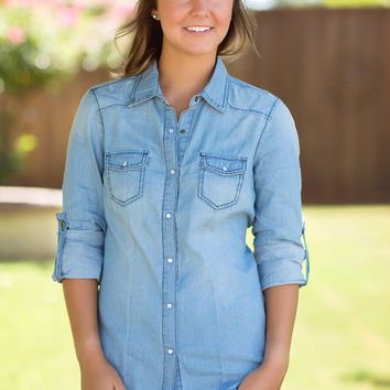 Blue Jean Baby Button-Up-Light Wash