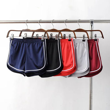Summer High Waist Shiny Sports Casual Gym Jogging Pants Shorts [8511501447]