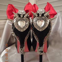 "High Heel Platform Spiked Women Shoes Black  ""Hearts"" size 11..A SpikesByG Design"
