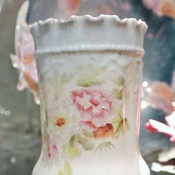 RS Prussia Spooner Antique Porcelain 1890s Victorian Germany Art Nouveau Beaded Crimped Rim Pink Floral Transfer Hand Painted German Table