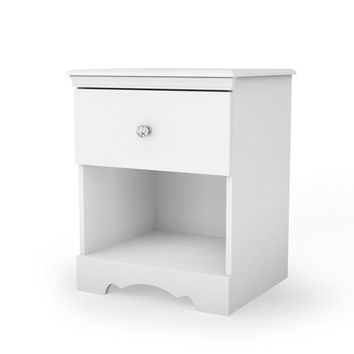 Eco-Friendly White Nightstand with Drawer & Open Shelf