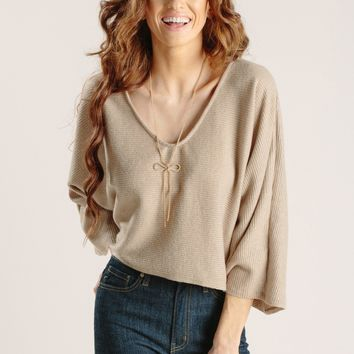 Tammy Mocha Ribbed Dropped Sleeve Top