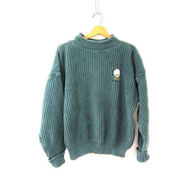 20% OFF SALE. vintage chunky knit sweater. green cotton sweater. Newport nautical pullover.