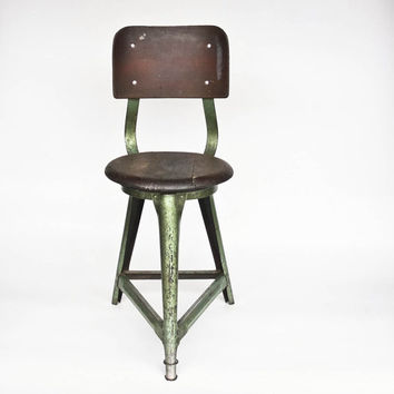 Vintage Industrial Stool  / Factory Chair /  Mid Century  Yugoslavia  / Wood & Metal / Green